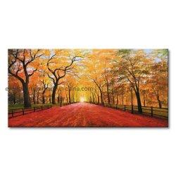 Grand paysage d'automne à la main peinture d'huile de couleur jaune décorer la salle de séjour
