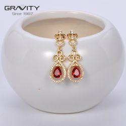 Custom новейшей конструкции ручной работы 18K 24k позолоченными контактами красный CZ Циркон Drop Earring украшения для женщин