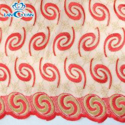 El patrón de hidromasaje tejido bordado de encaje rojo Tc Material con cordones Wholesale