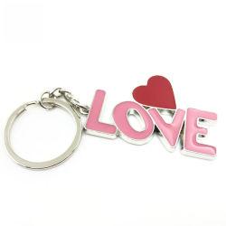 Chaîne de clés Maker personnalisés uniques de l'émail doux Mots 3D Amour logo en forme de coeur de la chaîne de clé en métal
