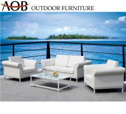Patio du jardin en plein air double jeux de salon en coupe de tissu en bordure de piscine canapé meubles avec table en verre