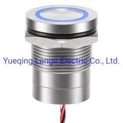 19mm 정전식 스위치, LED 또는 LED 없음, 링 조명, 순간 또는 래칭