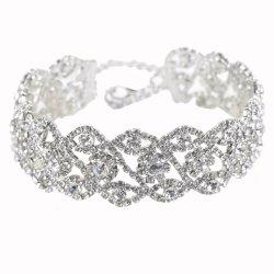 Luxuxkristall bördelt MuffeChokers Halskette u. die Anhänger-Geometrie-Reihen, die Wedding sind Rhinestone-Raupe-Halskette (ESG10253)