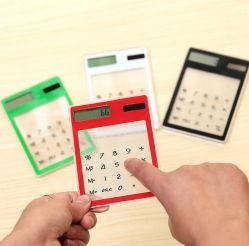 Pantalla táctil transparente personalizado creativo lindo calculadora Calculadora Solar estudiante Mini con Logo para promoción