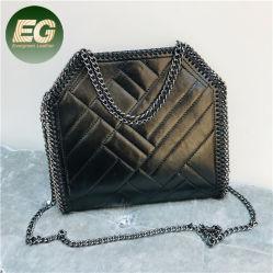 Черный Cowhide кожаные сумки роскошь мода вышивка поток нелегальной сумки через плечо с края Emg6022 цепи