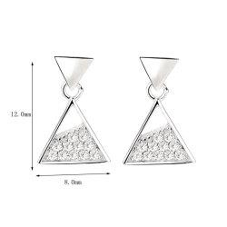 Fashion 925 Sterling Silver Triangle de bijoux de zirconium Earring avec placage rhodium