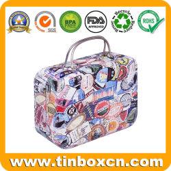 Novo formato de maleta Retro Mini-pequena caixa metálica articulada presente de Natal Tin com pega para Candy Mint