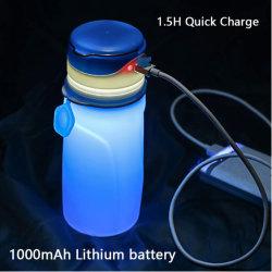 Colapsáveis Garrafas de água com pilha recarregável USB LED