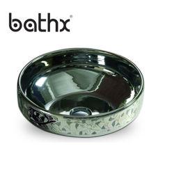 工場直接供給の単一の穴の楕円形の流しの功妙な装飾の陶磁器のカウンタートップの取付けられた洗面器の浴室の洗面器