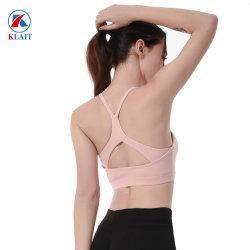 Abito su ordinazione di yoga di sport della maglia di yoga della parte superiore di serbatoio della camicia di forma fisica delle donne del reggiseno di yoga delle signore dell'aggraffatura di Flatlock