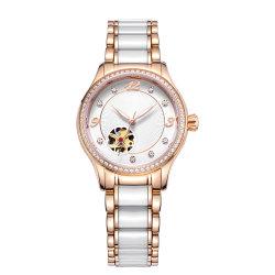 Fashion Roestvrijstalen Diamond Bezel Keramische Band Dames Automatische Horloge