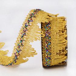 Кружевной треугольник Tassel швейных Обшивка металлических золотой бахромой кузова