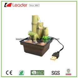 Polyresin USB-Bambuswasser-Brunnen für Tisch-Dekoration