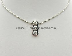 De ronde vormde de Tegenhanger van de Charme van de Nagel van het Zirconiumdioxyde van 3 Stenen voor Halsband