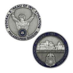 Logo 3D personnalisé avec la plaque d'argent antique Défi Coin