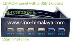 2 portas de 5,25 + 4 portas USB 3.0 Multi Hub USB 2.0 do painel frontal do compartimento de expansão