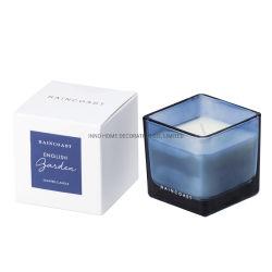 Personalizar Raincoast cuadrado coloreado titular de la jarra de cristal de 80g velas aromáticas para SPA