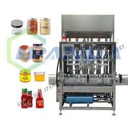 La pâte de tomate entièrement automatique Hot Sauce miel Ketchup Jar Machine de remplissage, crème/beurre/huile d'arachide/JAM/liquide de remplissage d'Embouteillage le plafonnement de l'étiquetage de la machine