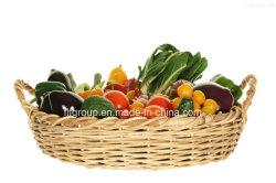 Eco-Friendly Food-Safe manuseados frutas cesta de vime personalizadas na cor natural
