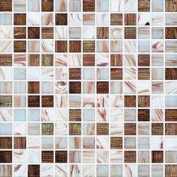 Linha de Ouro Branco e Castanho mosaicos de vidro de Fusão (H420003)