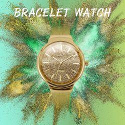 Aço inoxidável pulseiras manguito e Bangle Analog Quartz relógio de pulso para as mulheres (JY-AL016)