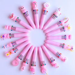 漫画の創造的な10のカラー球ペンの多色刷りのペンかわいい学生の文房具
