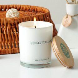 Personalizar perfumada Vela blanca de soja en el frasco de vidrio, con tapa de madera