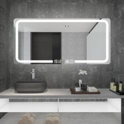 Moderno hotel de 5 mm iluminados iluminado espejo del baño de plata Espejo Espejo de maquillaje de LED con sensor táctil antiniebla