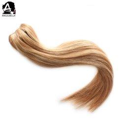 人間の毛髪の拡張の白人女性クリップのためのAngelbella 100%まっすぐにWeft 27#/4#