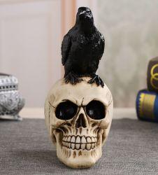 頭骨Poeのワタリガラスの置物のHalloweenのホーム装飾のギフトのとまられたワタリガラス