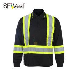 Overhemd van het Polo van het Zicht van de Koker van de Slijtage van het Werk van de T-shirt van de veiligheid het Beschermende Lange Hoge Weerspiegelende