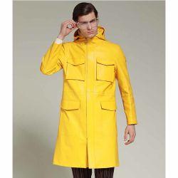 Los hombres de cuero auténtico OEM de la moda de la chaqueta de cuero Real Sheepskin largo