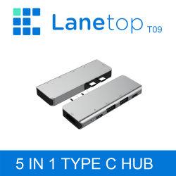 Lanetop 5 en 1 doble enchufe USB Docking Station-C 4K HDMI Adaptador USB 3.0 para PC/portátiles teléfonos móviles de tipo C /SD / TF de lectura de tarjetas USB Hub