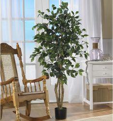 Piccole piante di Banyan in pottato al coperto High Simulation foglie di seta verde Ficus Bonsai artificiale albero per decorazione domestica