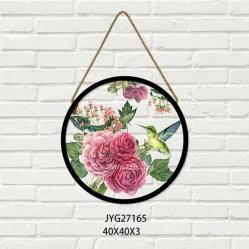 Runde Belüftung-Wand-Abbildung mit PS-Rahmen-Druck mit rosafarbener Blume