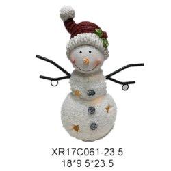 La resina Polyresin artesanía artesanía de Navidad muñeco de nieve con luz LED