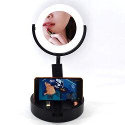 LED de luz circular Selfie Linli com Suporte de Desktop e suporte telefônico, 7'' Anel regulável de kit de luz de lâmpada de USB para transmissão ao vivo/makeup/Vídeo Youtube/Iluminação/salão