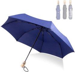 Câmbio automático de vento Travel Umbrella compacto dobrável Umbrella com 210t para uma secagem rápida de revestimento Caixa Portabl e confortável alça de madeira