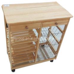 Metálico acabado de madera maciza barnizada personalizado Gabinete para cocina