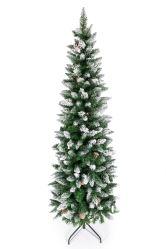 Árvore de Natal Lápis artificial, Neve flocados árvores com decoração de pinha Apagada