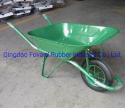 프랑스 Wb6400를 위한 14*4 단단한 고무 바퀴를 가진 금속 쟁반 강한 외바퀴 손수레