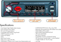 1DIN In-Dash 차량용 무전기 스테레오 리모콘 디지털 Bluetooth 오디오 음악 스테레오 12V USB/SD/Aux-In 차량용 무전기 MP3 플레이어