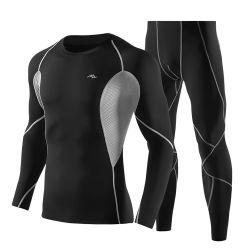 Polyester élastique de la conception personnalisée en usine HOMMES vêtements sportswear à manchon long