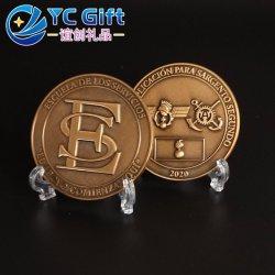 工場カスタム亜鉛合金めっきアンティーク金 3D ロゴメタル コイン歴史記念コインバッジ(おみやげ