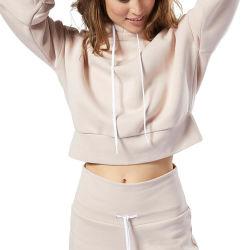Groothandel Custom Borduurwerk Logo Dames Premium Cotton Hoodie Private Label Blanco Fitness Crop Top korte sweatshirts Hoodies