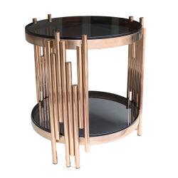 Le café ronde La Table de salle de séjour avec le verre trempé haut & Châssis métallique, ouvert de niveau 2 étagères de stockage, robuste et rustique