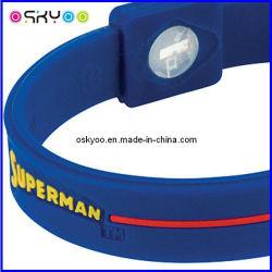 Personalizar o logotipo do Super-Homem Energia Energia pulseiras com holograma de Silicone