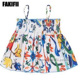 Comercio al por mayor ropa de bebé/niño niña patrón mayólica Bustier Blusa Camisa de verano los niños