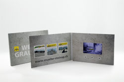 Cartolina d'auguri di cuoio su ordinazione del riproduttore video, video scheda dell'invito di cerimonia nuziale dell'opuscolo di affari