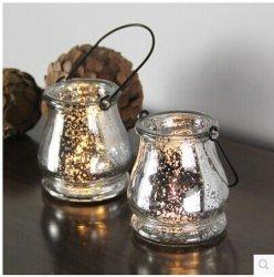 Chapado en plata colgantes creativo Spot Lámpara de vela de vidrio/Portavelas